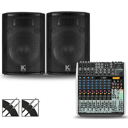 Behringer XENYX QX1622USB Mixer and Kustom HiPAC Speakers thumbnail
