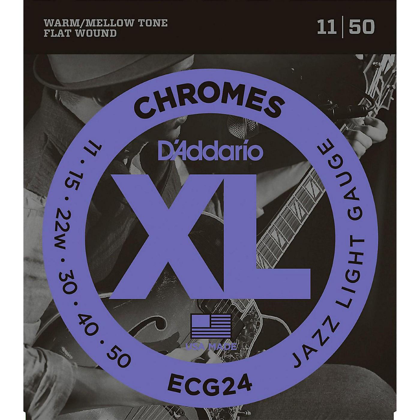 D'Addario XL Chromes Jazz Light Electric Guitar Strings ECG24 Flatwound thumbnail