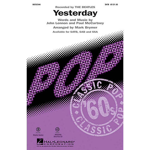 Hal Leonard Yesterday SATB by The Beatles arranged by Mark Brymer thumbnail