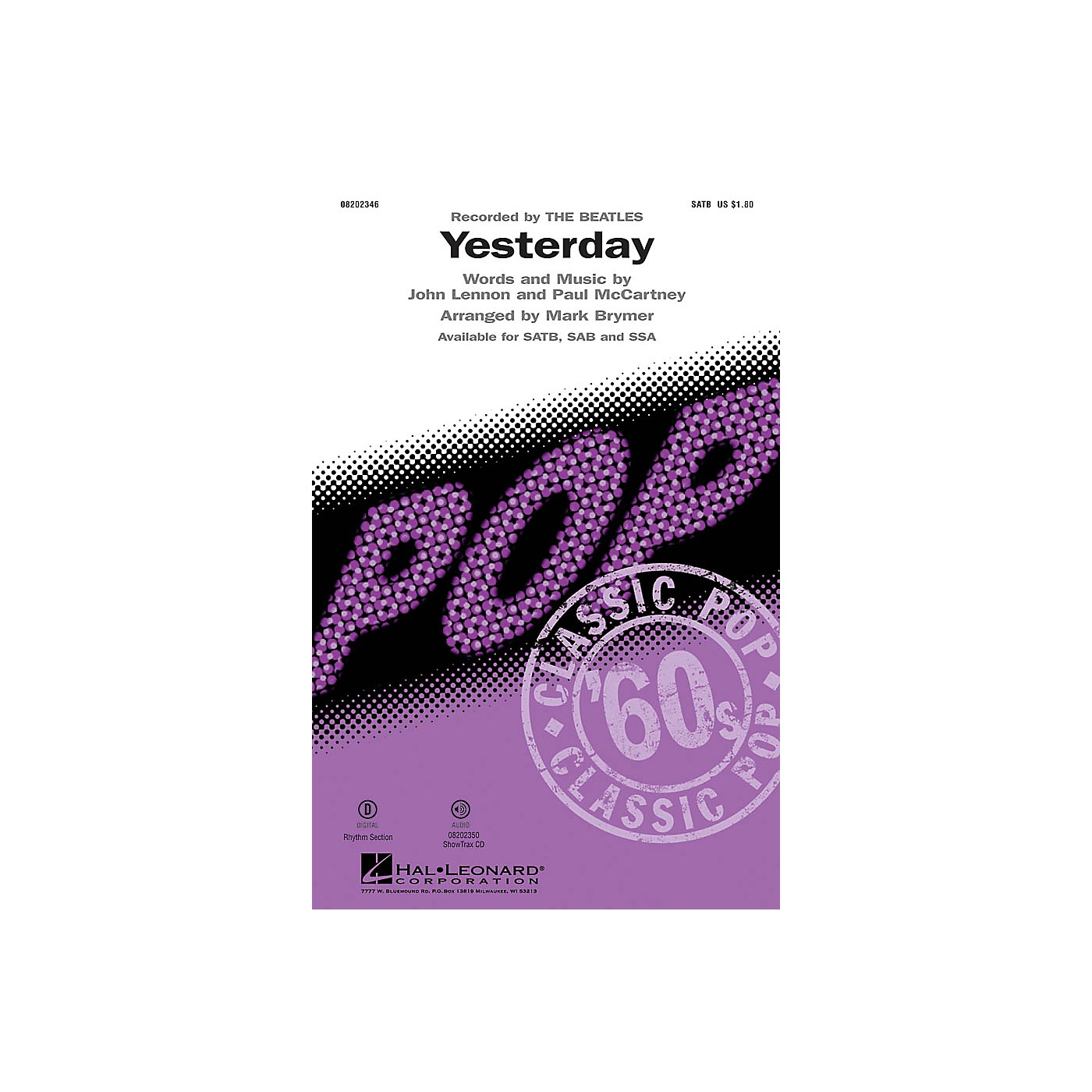 Hal Leonard Yesterday ShowTrax CD by The Beatles Arranged by Mark Brymer thumbnail