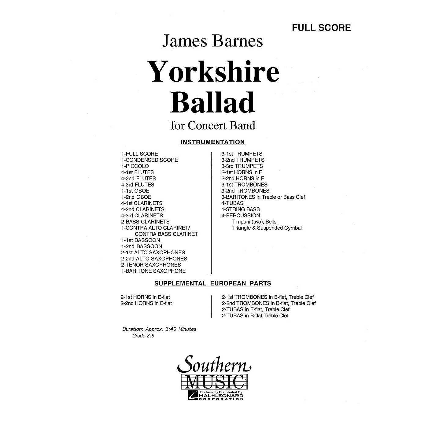 Southern Yorkshire Ballad (UIL 2) Concert Band Level 2 Composed by James Barnes thumbnail