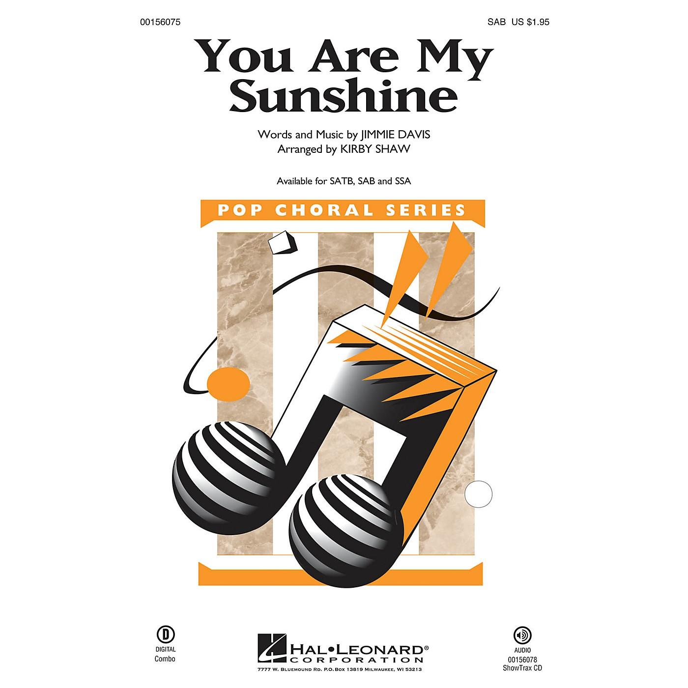 Hal Leonard You Are My Sunshine SAB arranged by Kirby Shaw thumbnail