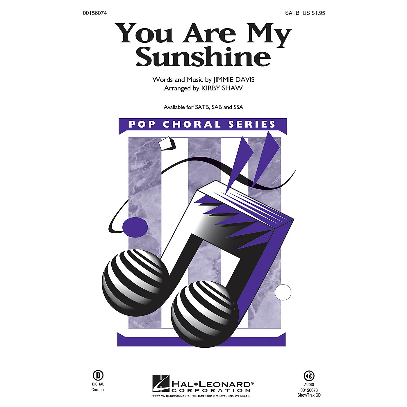 Hal Leonard You Are My Sunshine SATB arranged by Kirby Shaw thumbnail