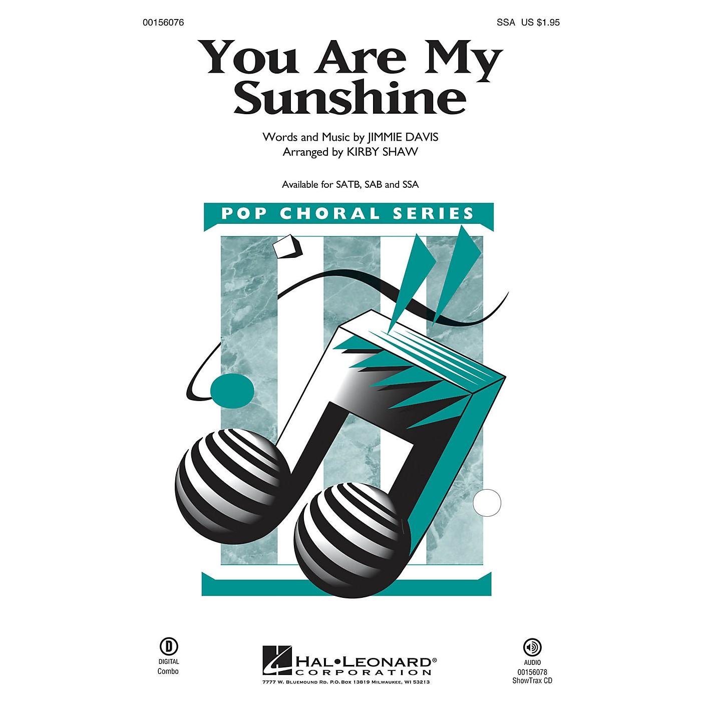 Hal Leonard You Are My Sunshine SSA arranged by Kirby Shaw thumbnail