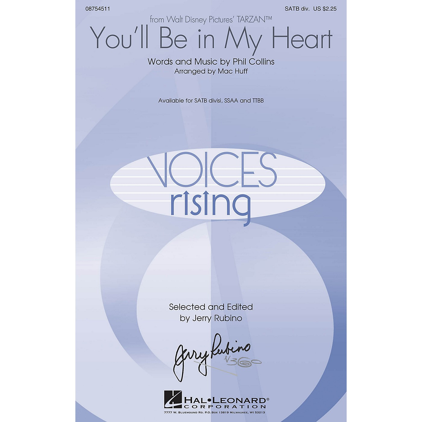 Hal Leonard You'll Be in My Heart (from Tarzan) TTBB by Phil Collins Arranged by Mac Huff thumbnail