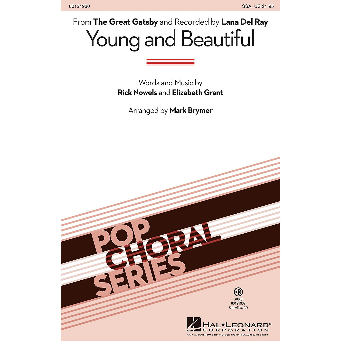 Hal Leonard Young and Beautiful SSA by Lana Del Rey arranged by Mark Brymer thumbnail