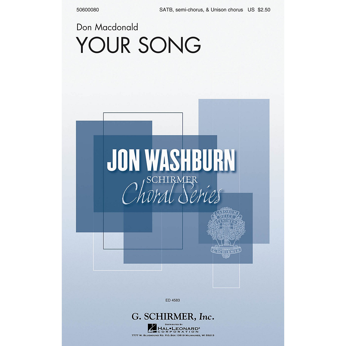 G. Schirmer Your Song (Jon Washburn Choral Series) SSATB composed by Don Macdonald thumbnail