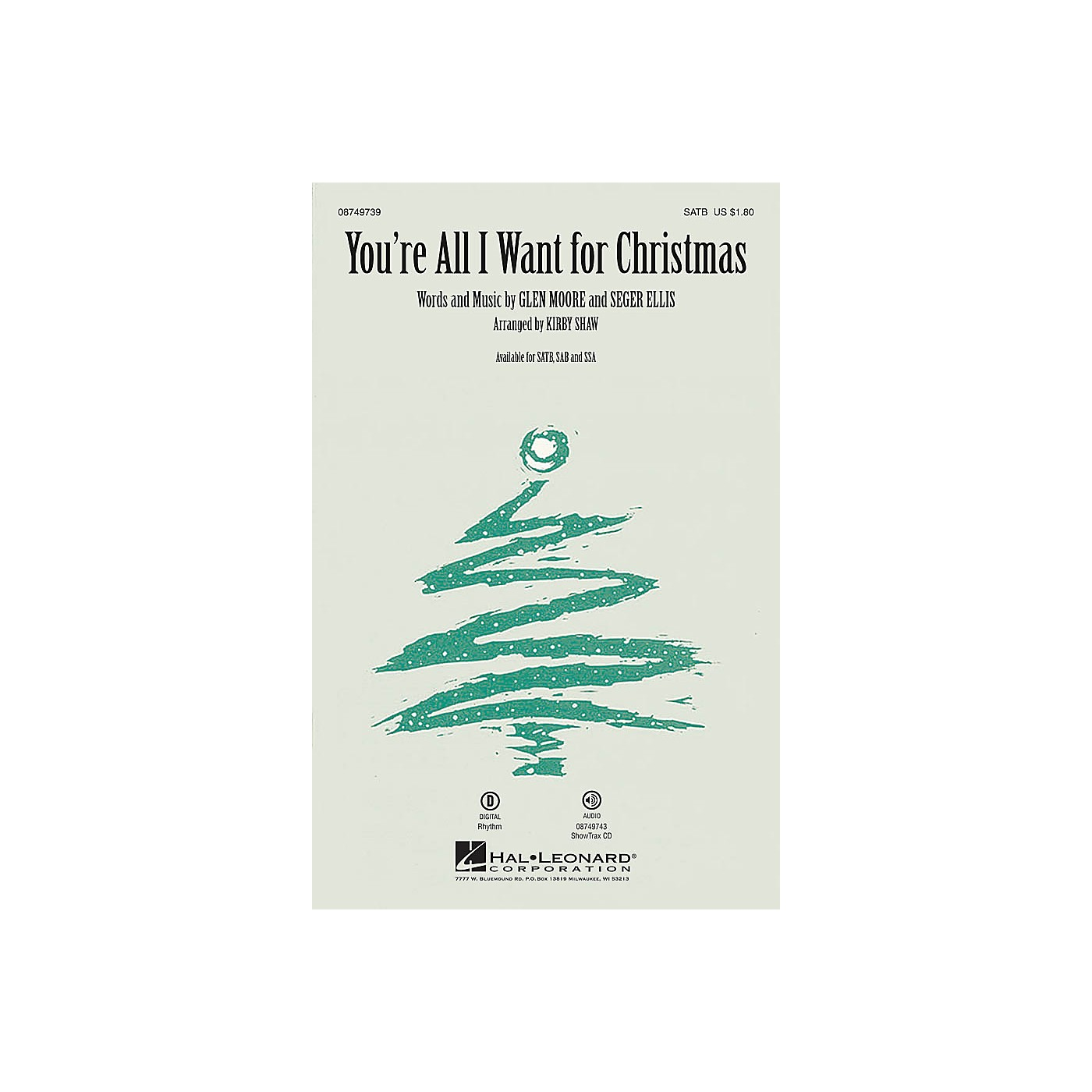 Hal Leonard You're All I Want for Christmas SSA Arranged by Kirby Shaw thumbnail