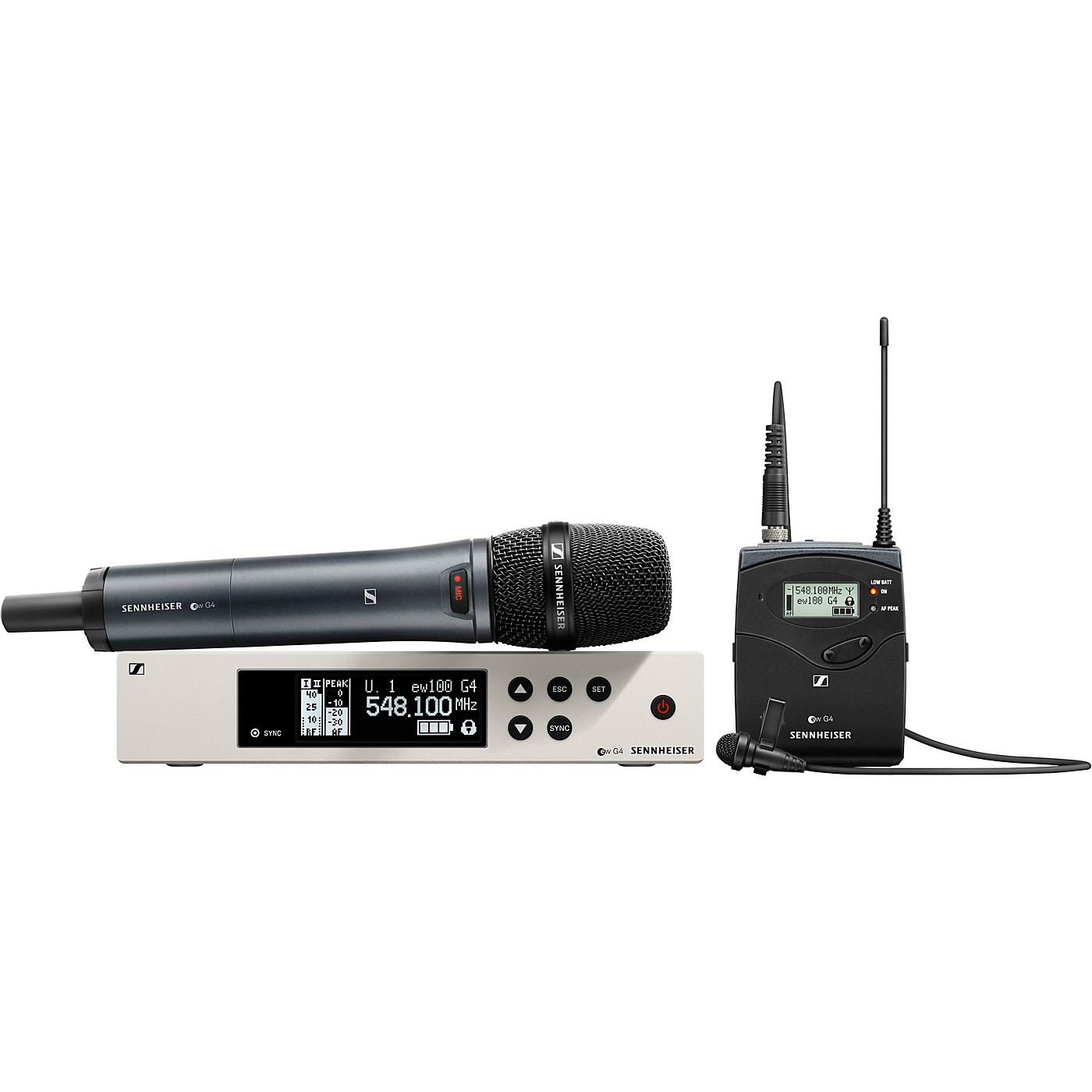Sennheiser ew 100 G4 Handheld/Lavalier Combo Wireless System with ME2 and e835 thumbnail