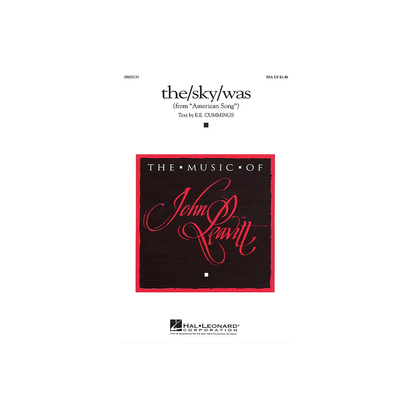 Hal Leonard the/sky/was (from American Song) SSA composed by e e cummings thumbnail